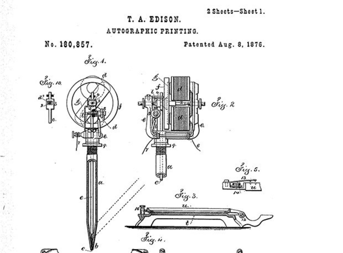 Does this look familiar? Edison's blueprints for the electric pen sure do resemble a tattoo machine.