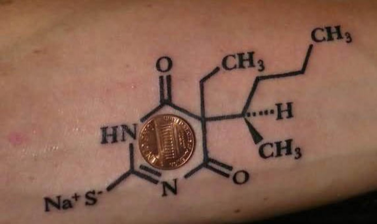 A molecule of caffeine in tattoo form.