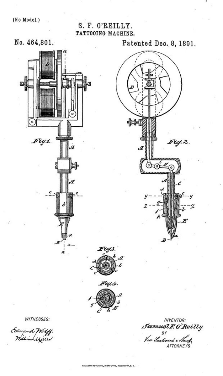 O'Reilly's blueprints for the first patented tattoo machine.