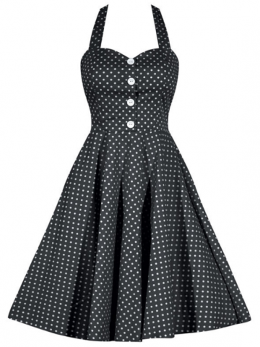 "AvaIlable at INKEDSHOP.COM: Women's ""Retro Gal"" Halter Swing Dress by Double Trouble Apparel"