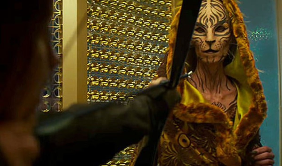 "Tigris from ""The Hunger Games - Mockingjay Part 2,"" one of Hetrick's more impressive creations."