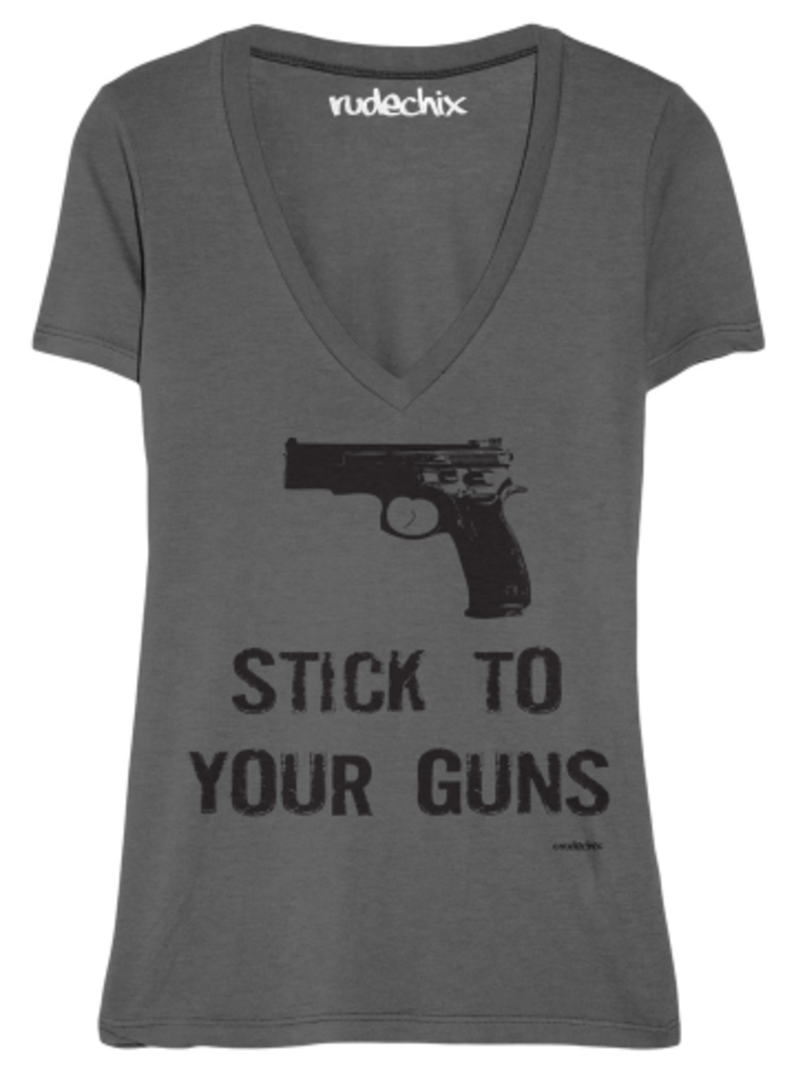 "Available at INKEDSHOP.COM: Women's ""Stick to Your Guns"" V-Neck Tee by Rudechix"