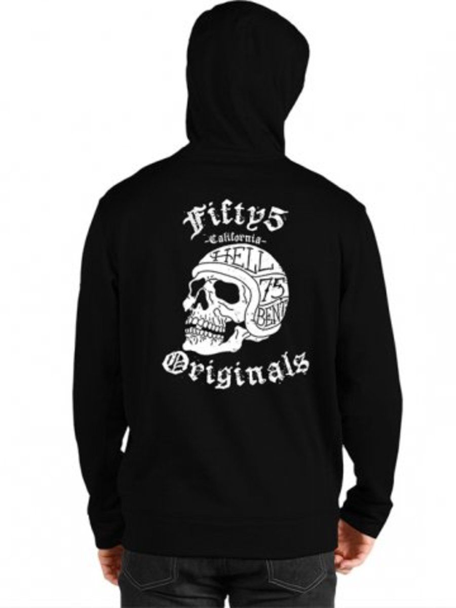 "Available at INKEDSHOP.COM: Men's ""Original Hell Bent Skull"" Zip Up Hoodie by Fifty5 Clothing"