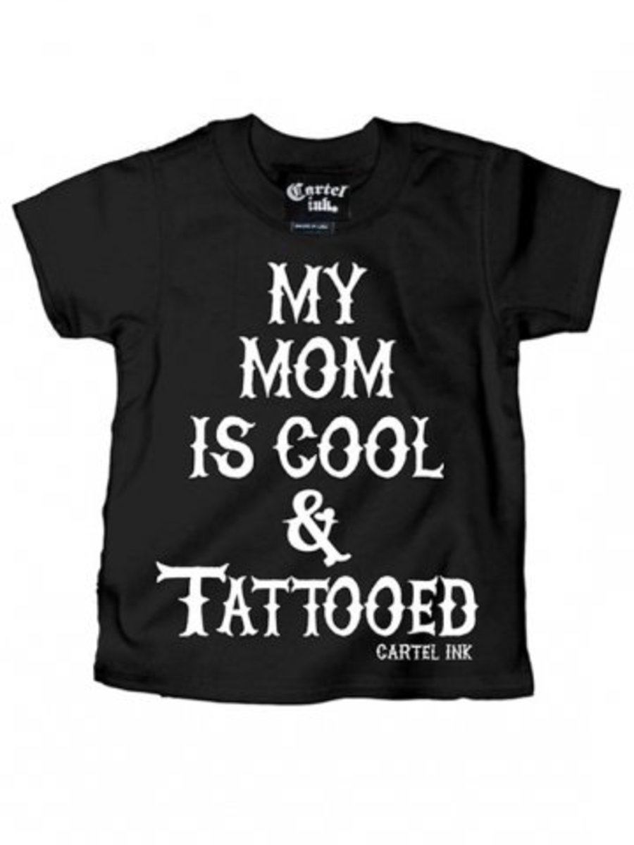 "Available now on INKEDSHOP.COM: Kid's ""My Mom Is Cool & Tattooed"" Tee by Cartel Ink (Black)"