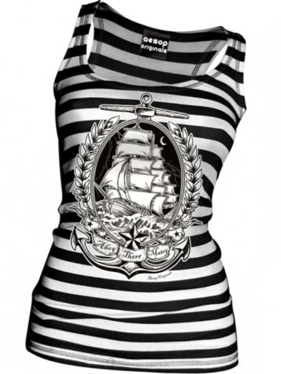"Available at INKEDSHOP.COM: Women's ""Ahoy There Matey"" Top by Aesop Originals"