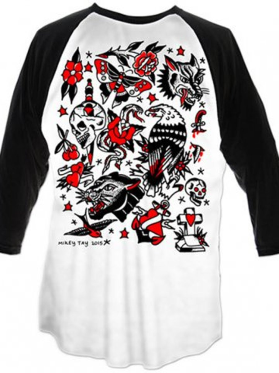 "Available at INKEDSHOP.COM: Men's ""Tattoo Flash One"" Raglan by Cartel Ink"