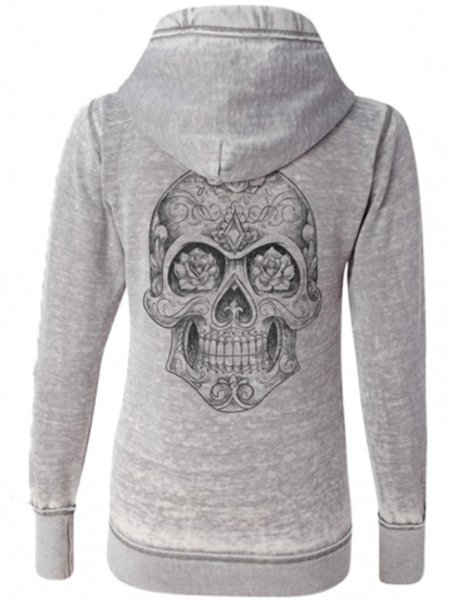 "Available at INKEDSHOP.COM: Women's ""Sugar Skull"" Zip Hoodie by Fifty5 Clothing"