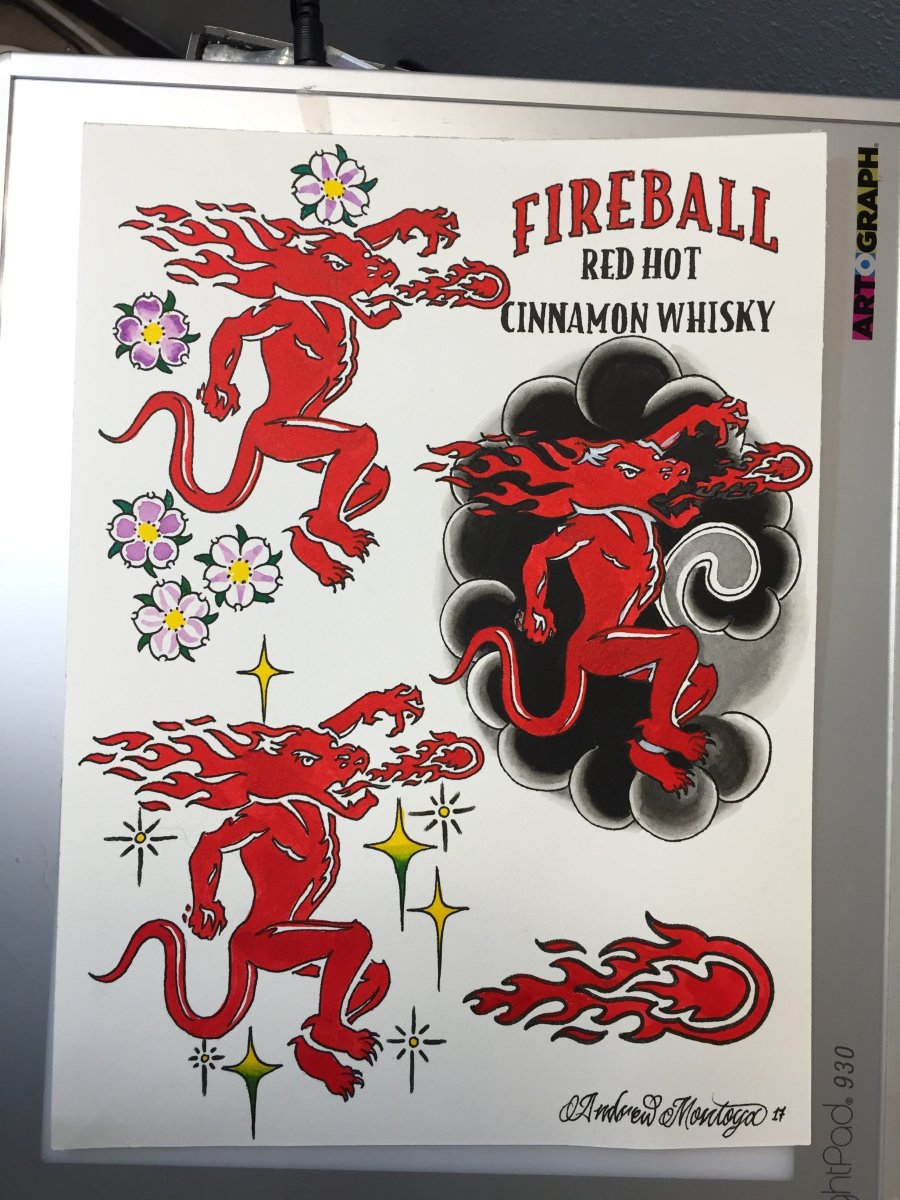 Exclusive Fireball Whisky Tattoo Flash Sheet for the Golden State Tattoo Expo