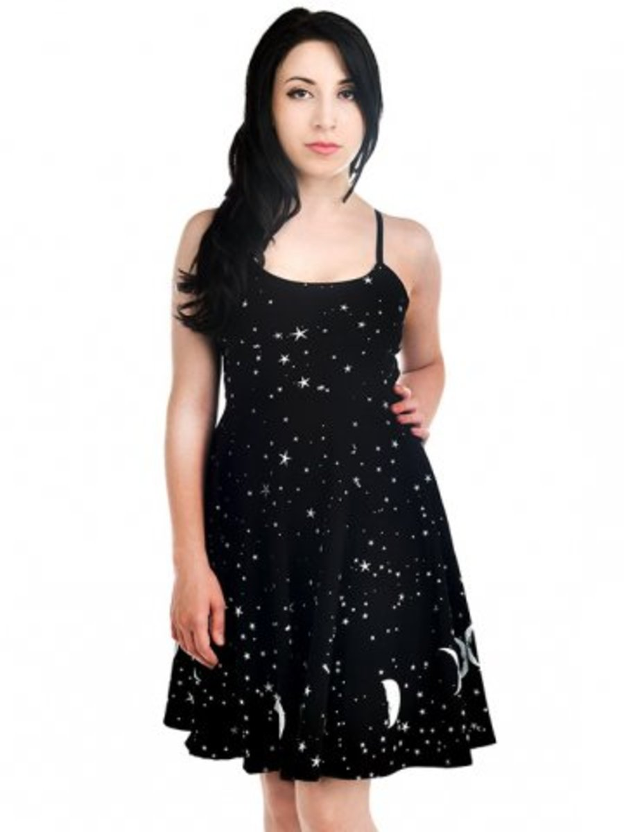 "Available at INKEDSHOP.COM: Women's ""Phase the Moon"" Spell Dress by Too Fast"