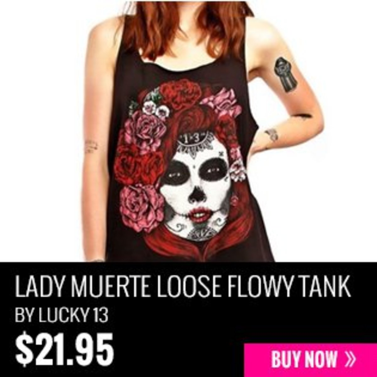 Lady Muerte Loose Flowy Tank Top by Lucky 13
