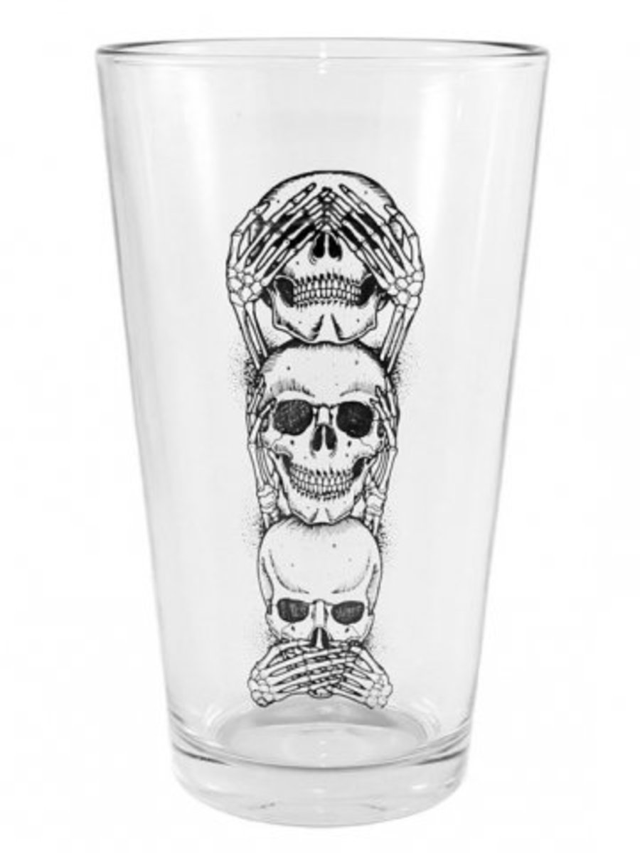 "Available at INKEDSHOP.COM: ""No Evil"" Pint Glass by Inked"