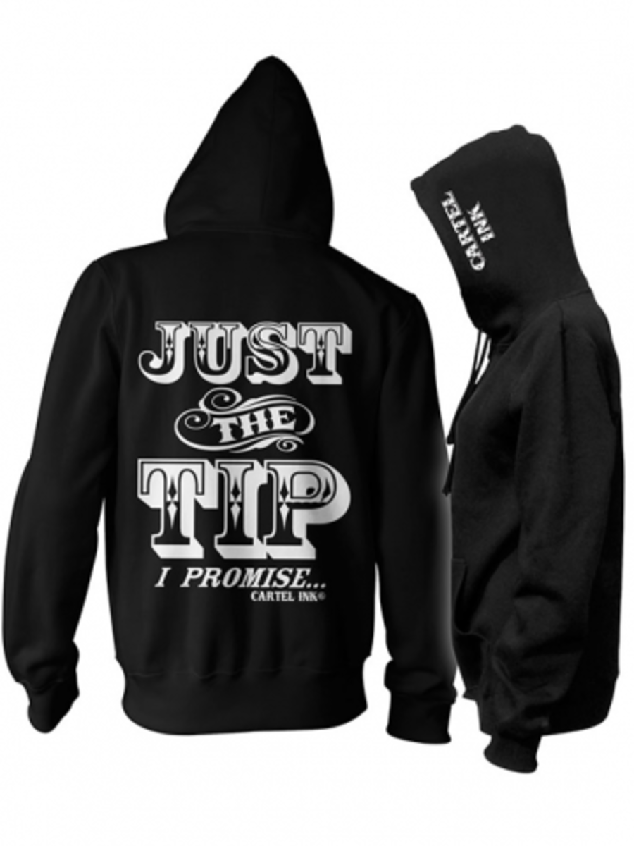 "Available at INKEDSHOP.COM: Unisex ""Just the Tip"" Zip Up Hoodies by Cartel Ink"