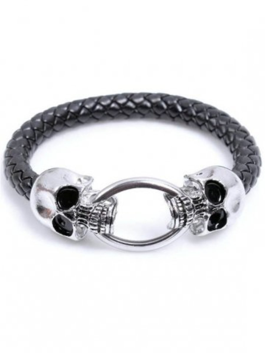 Available at INKEDSHOP.COM: Double Skull Cord Bracelet by Black Label