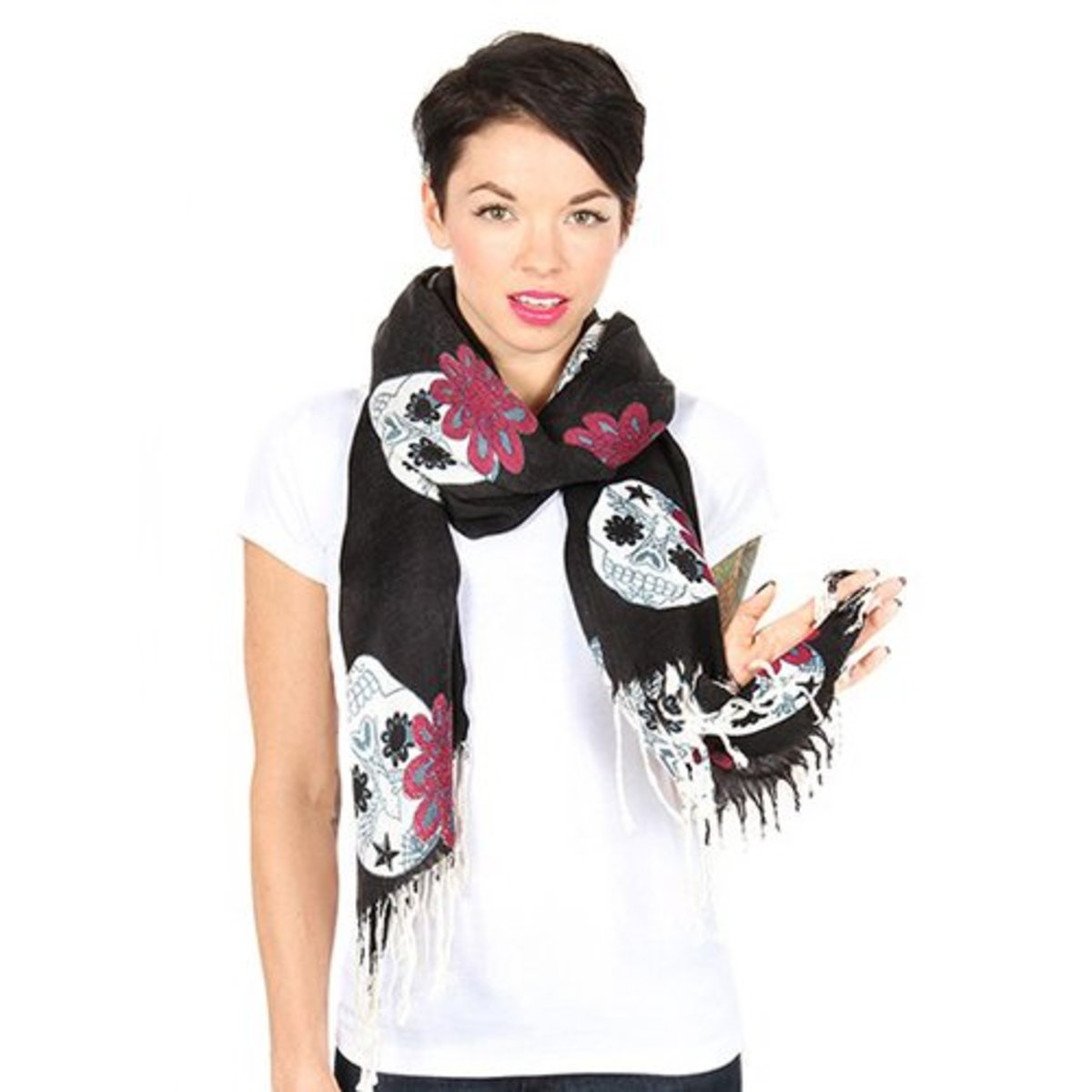 20-Sugar-Skull-Scarf---Black