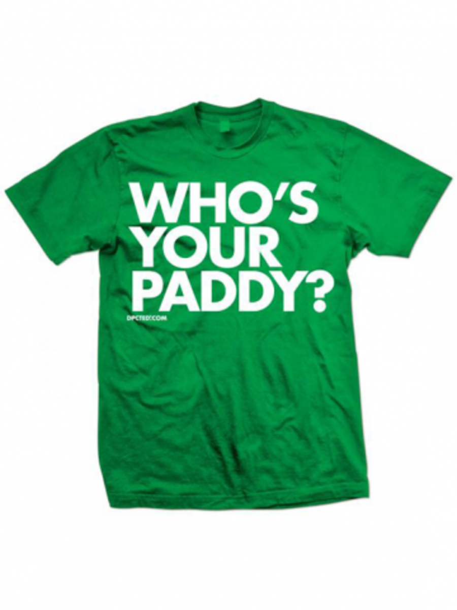 "Available at INKEDSHOP.COM: Unisex ""Who's Your Paddy"" Tee by Dpcted Apparel"