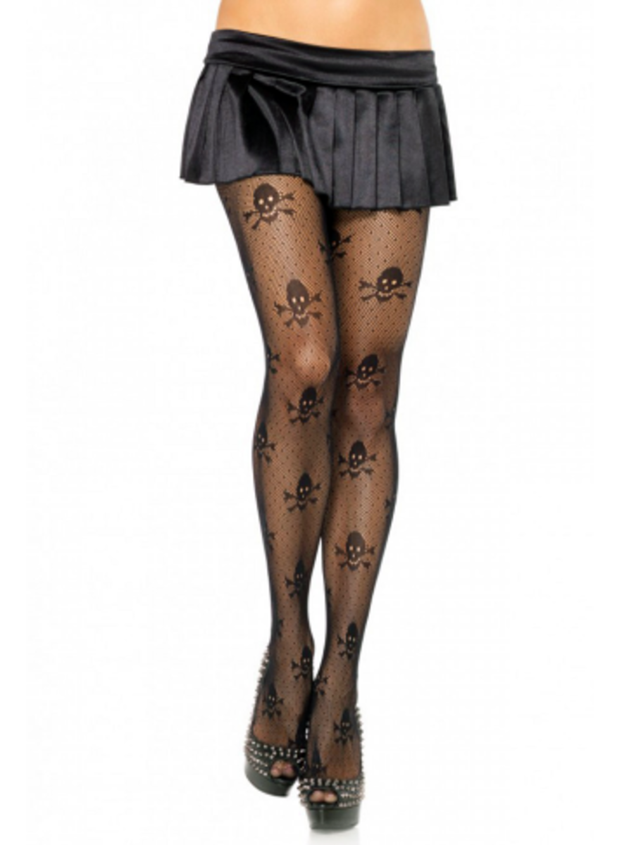 "Available at INKEDSHOP.COM: Women's ""Micro Skull"" Tights by Leg Avenue"