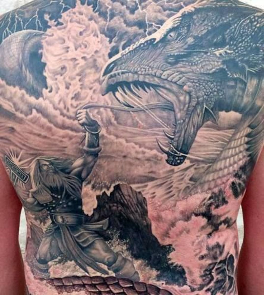 dragon thor back tattoo