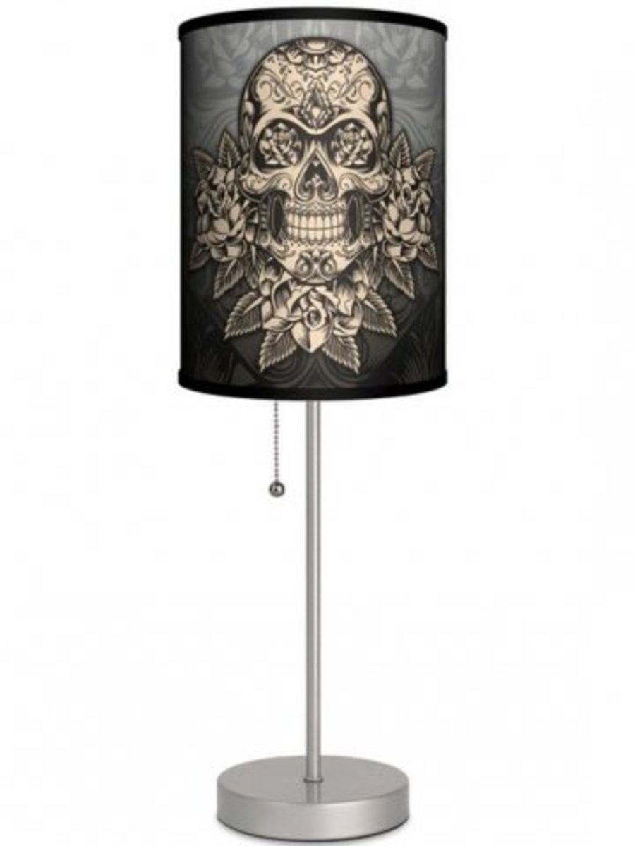 Available at INKEDSHOP.COM: Silver Lamp WIth Gold Skull Shade by Lamp in a Box