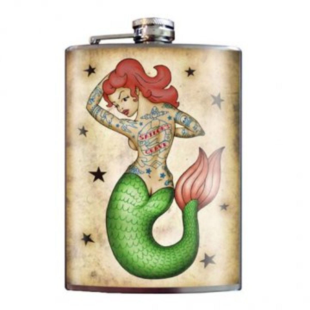 """Available now at INKEDSHOP.COM: """"Tattooed Mermaid"""" flask"""