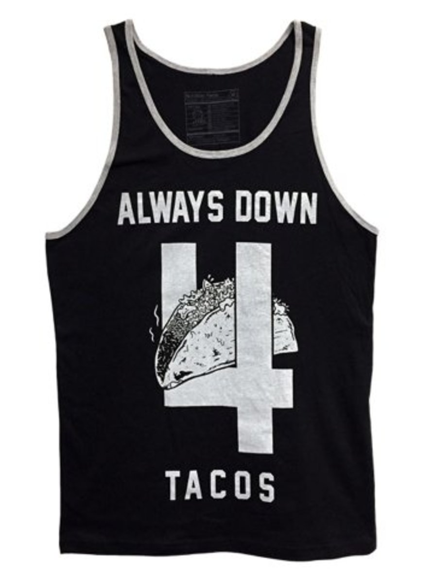 """Available now at INKEDSHOP.COM: Unisex """"Always Down 4 Tacos"""" Tank by Pyknic"""