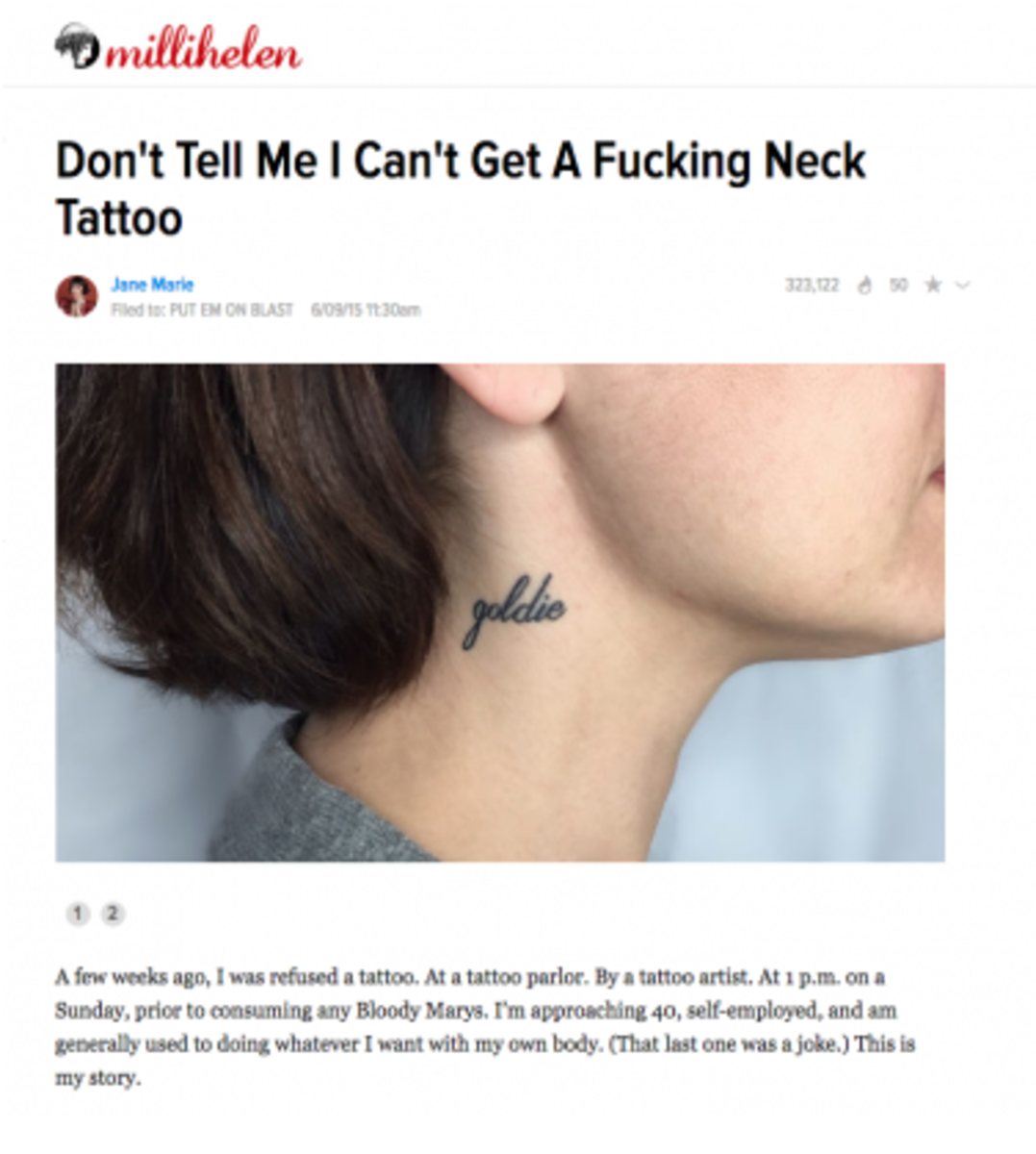 blogger tried to get a neck tattoo then got smacked down