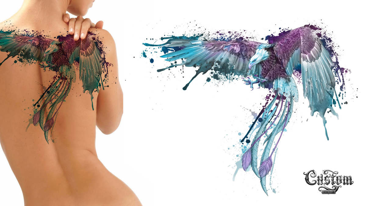 custom tattoo design eagle back piece watercolor