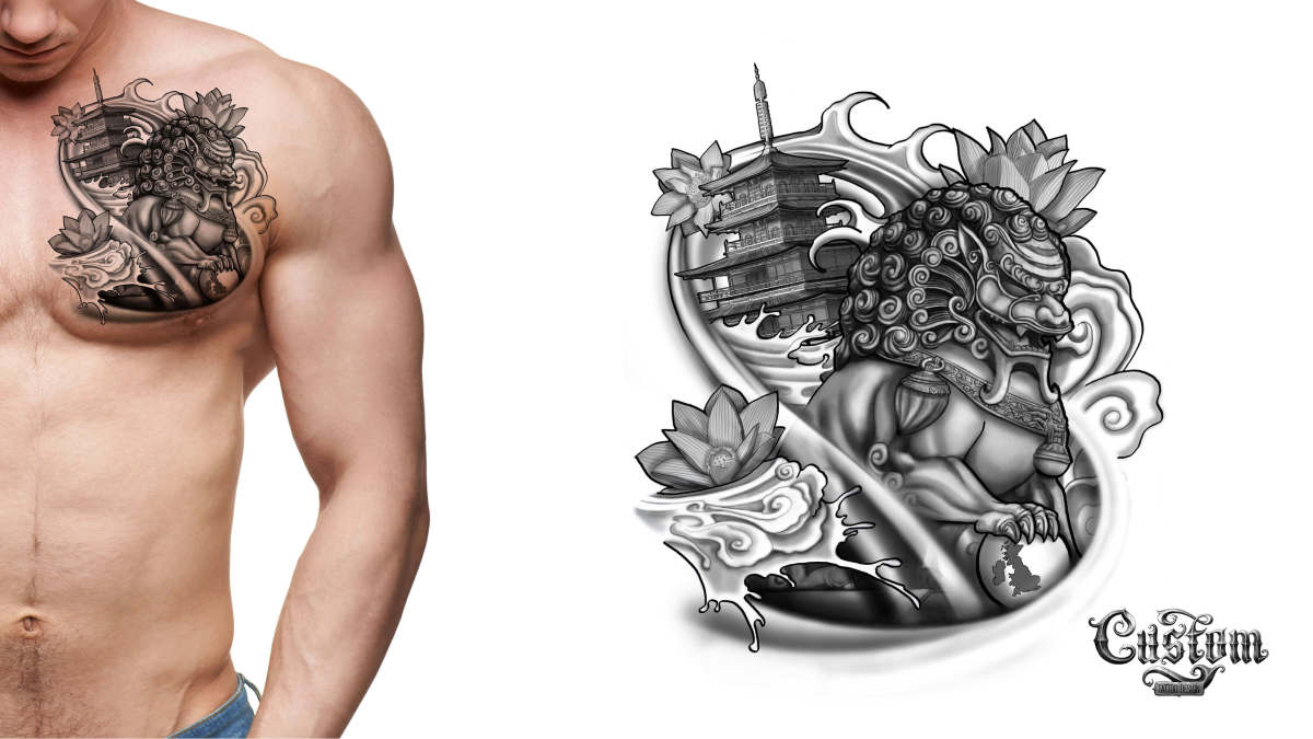 Custom Tattoo Design's Foo Dog Chest Piece
