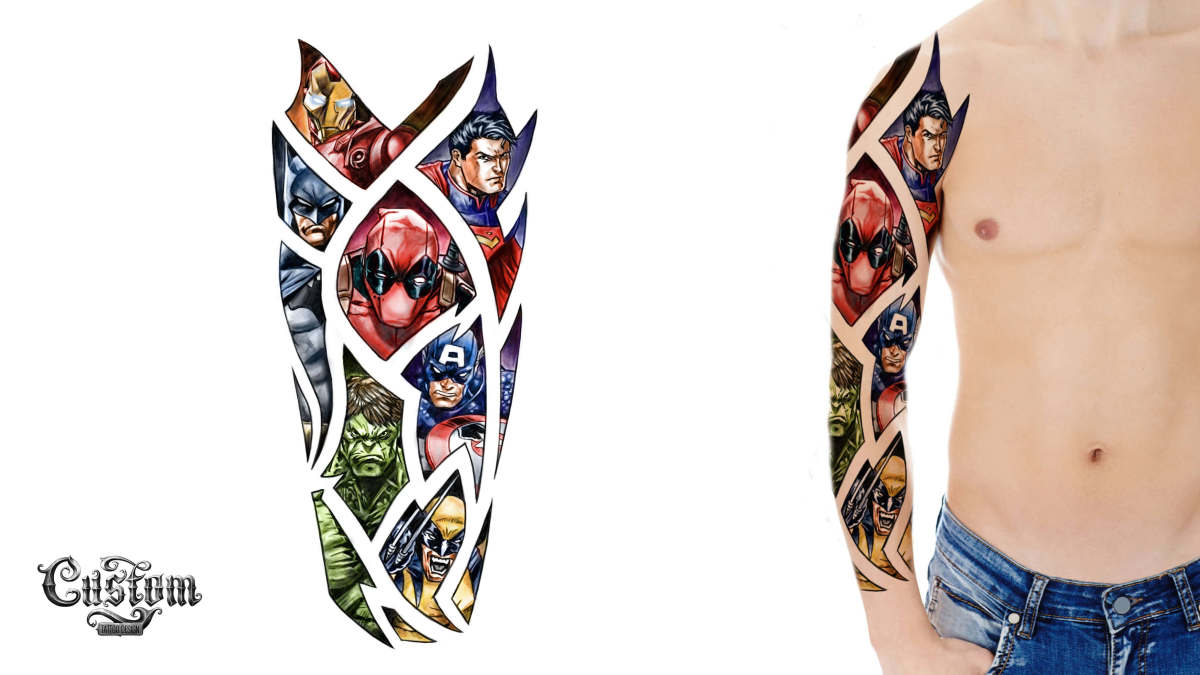 Custom Tattoo Design's Superhero Sleeve