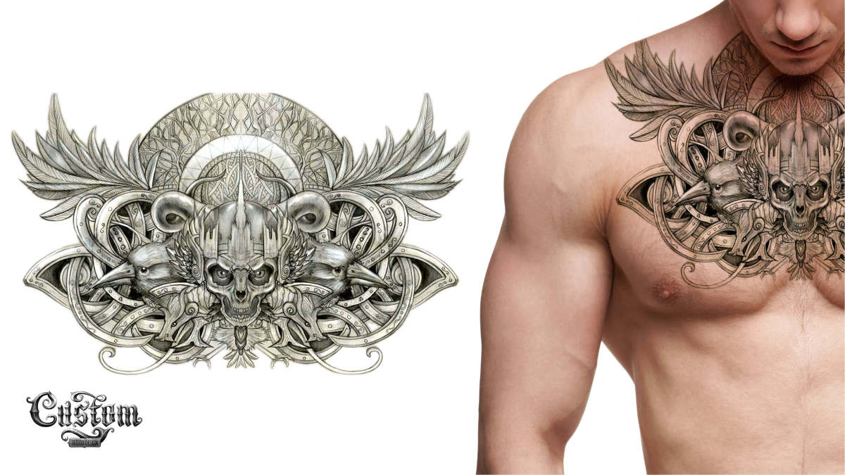 Custom Tattoo Design Skull Chest Piece