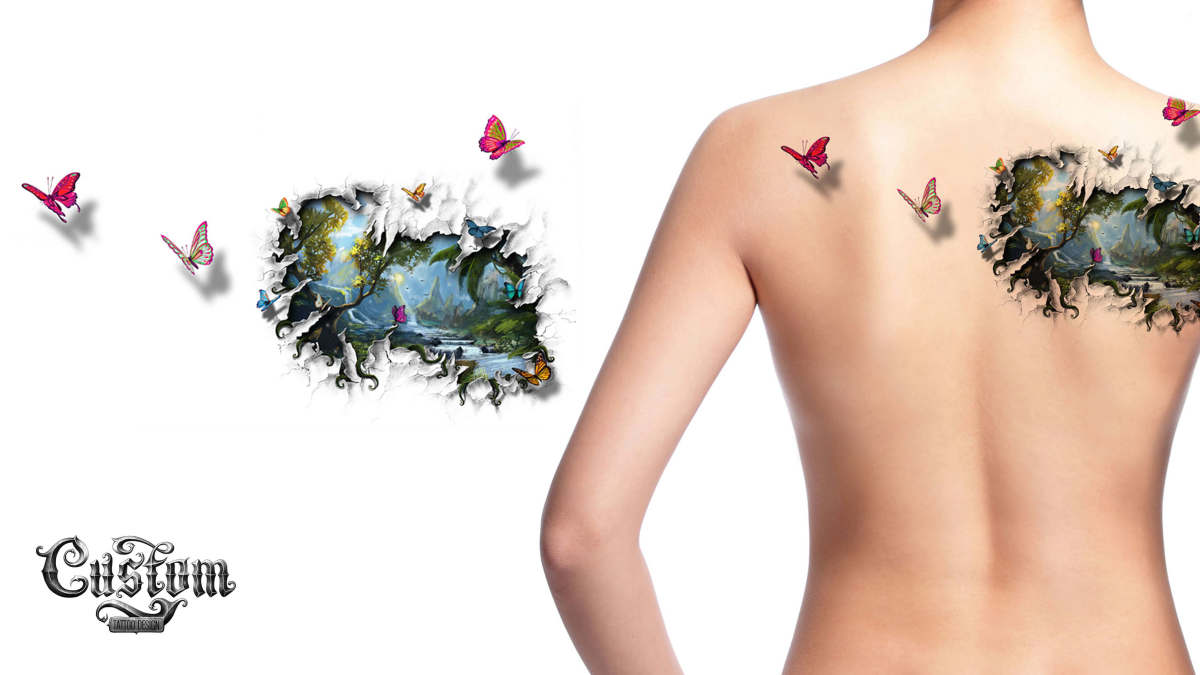 Custom Tattoo Design Butterfly Back Piece