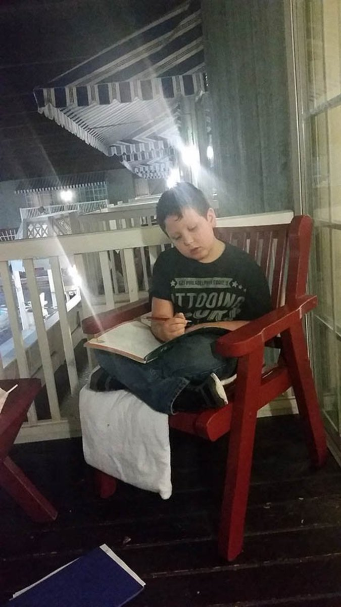 David Dunbar finding some time for school work.