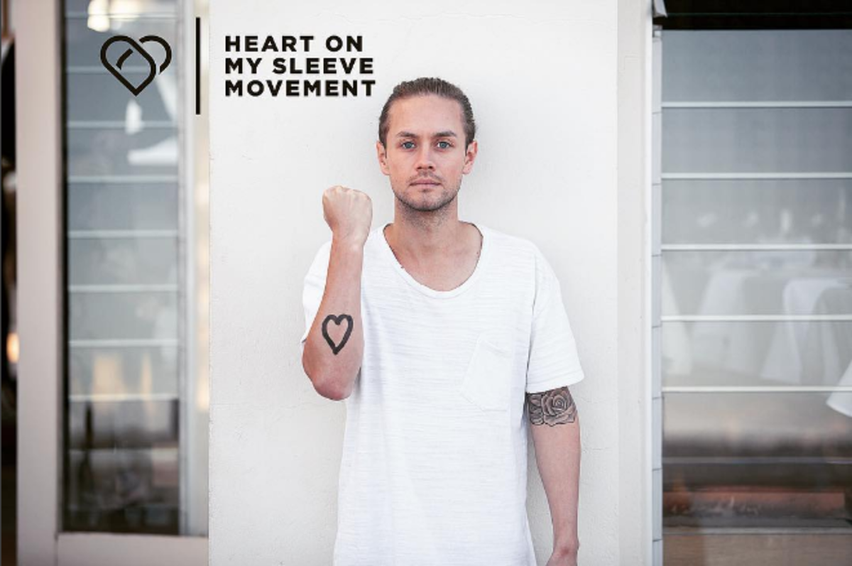 Mitch Wallis, founder of the Heart on My Sleeve Movement, created to bring about awareness about the millions that suffer from mental illness. Photo: Instagram.