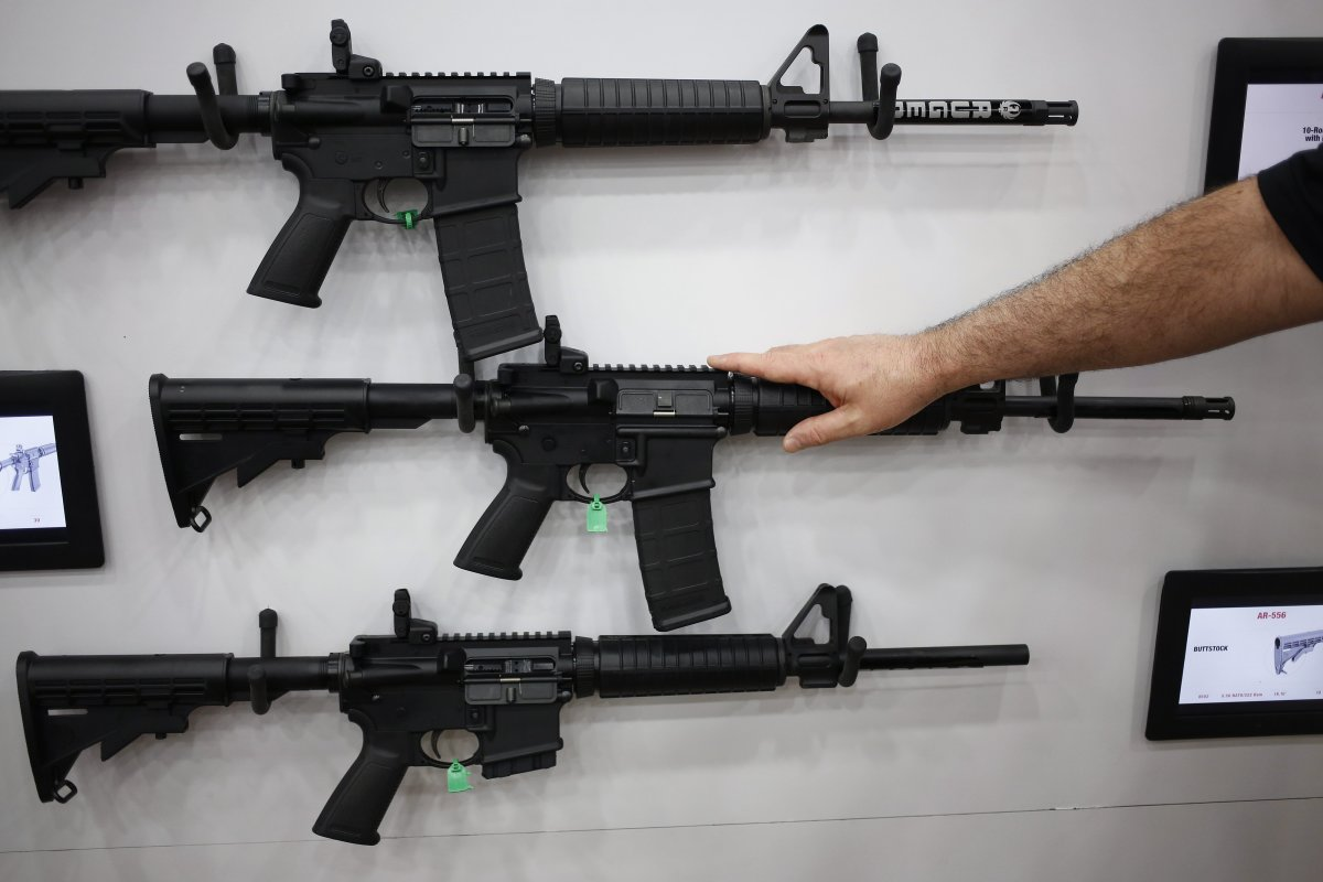 AR-15 rifles are displayed on the exhibit floor during the National Rifle Association (NRA) annual meeting in Louisville, Kentucky, U.S., on Friday, May 20, 2016. The nation's largest gun lobby, the NRA has been a political force in elections since at least 1994, turning out its supporters for candidates who back expanding access to guns. Photographer: Luke Sharrett/Bloomberg via Getty Images