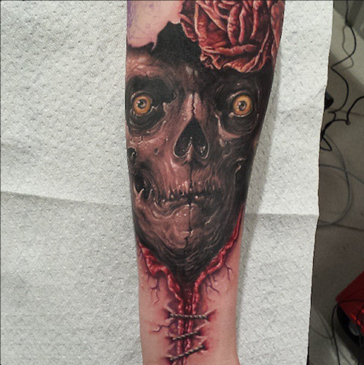 In progress tattoo collaboration by Tommy Lee Wendtner and Christiane Buyx