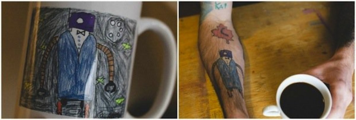 Anderson's son's original drawing and the tattoo inspired by it. Photo by Chance Faulkner