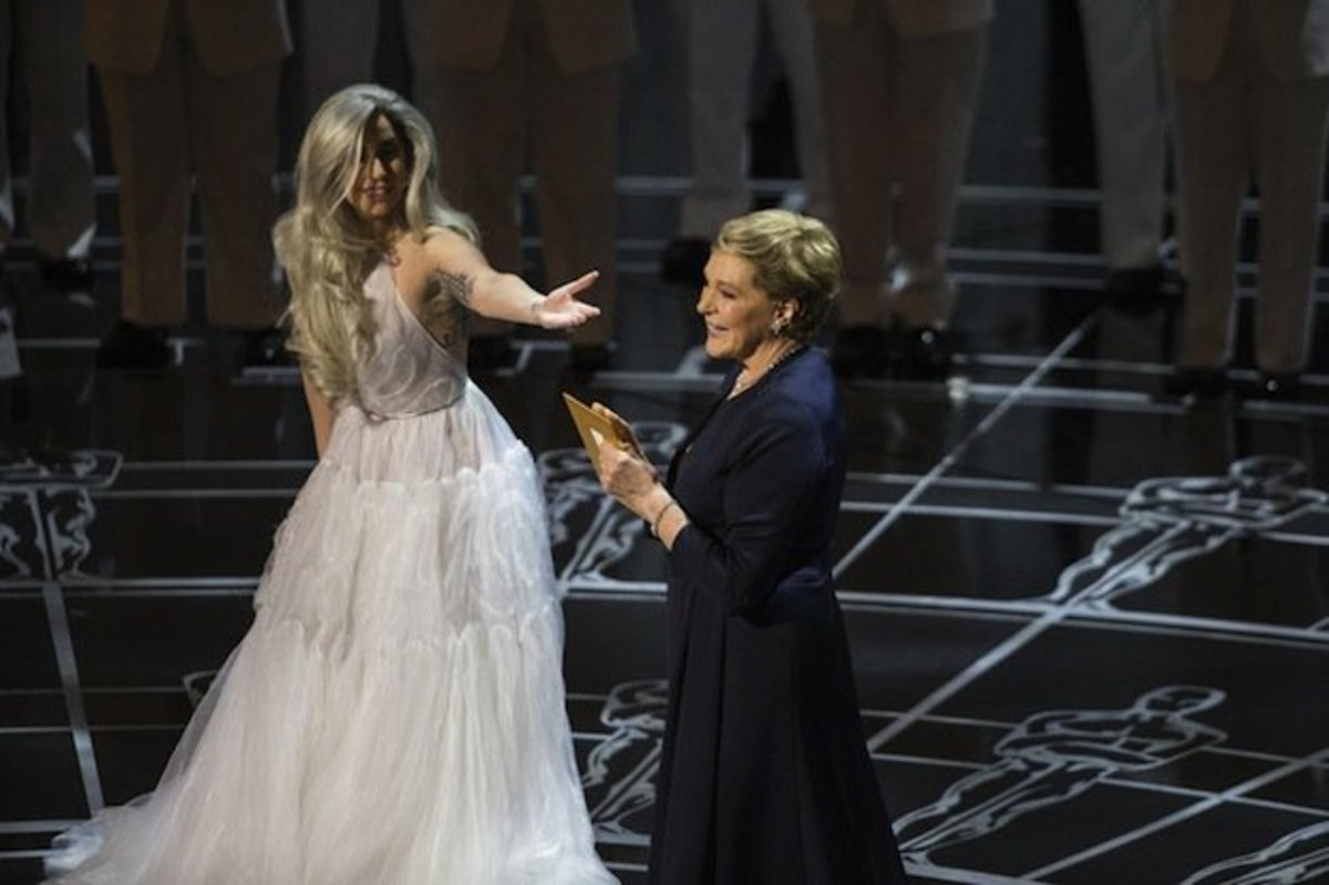 Lady Gaga with Julie Andrews at the 87th Academy Awards
