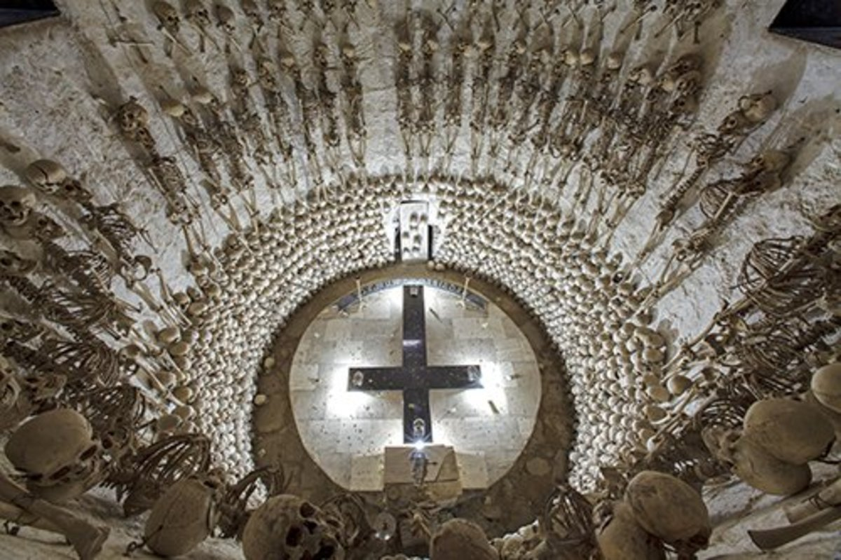 Lampa, Peru. Looking down into large ossuary tomb beneath the town's church.