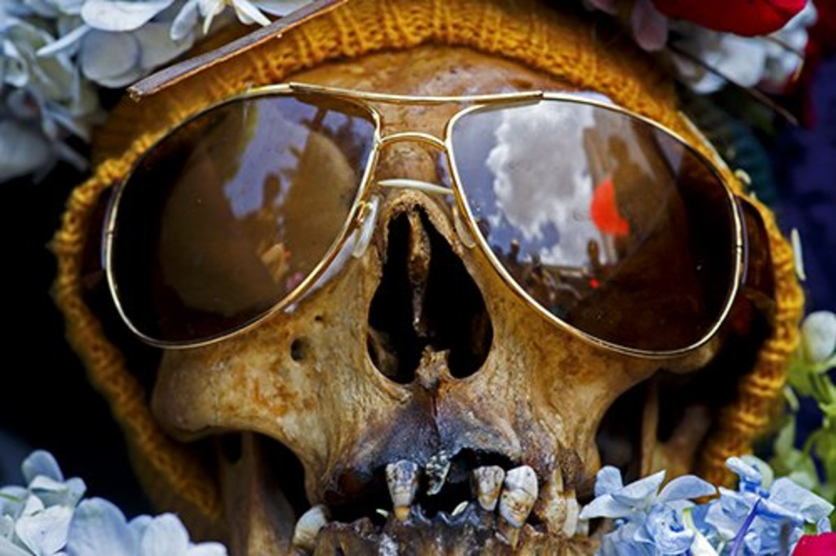 La Paz, Bolivia. Skull wearing sunglasses at the annual skull festival in the Cemetery General.