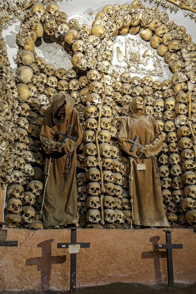 Rome, Italy. A seventeenth century Capuchin crypt decorated with bones and mummies.