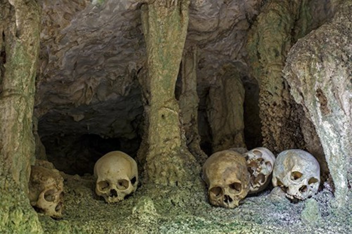 Bua, Sulawesi, Indonesia. Burial cave, bones of ancestors arranged in a network of passages.