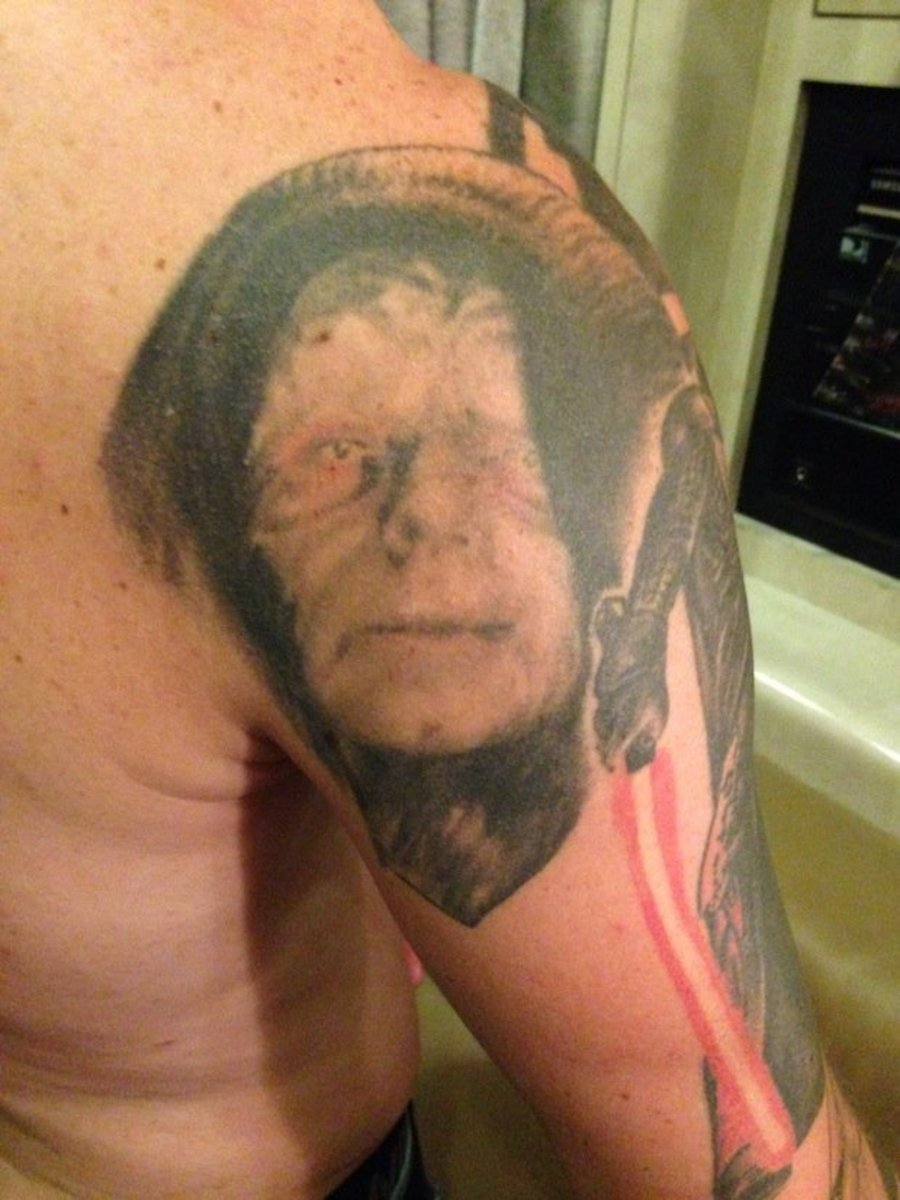 Key's tattoo of The Emperor by Grant Cobb.