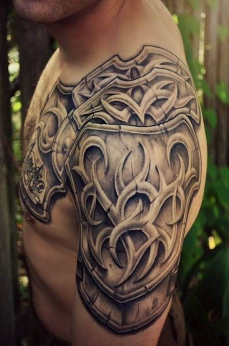Armor Tattoos Tattoo Ideas Artists And Models House of stark shoulder armour from the tv series game of thrones, tattoo by leonardo acosta, an artist based in berlin, germany. armor tattoos tattoo ideas artists