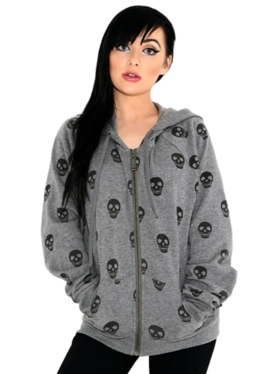 "Available at INKEDSHOP.COM: Women's ""Skull"" Zip-Up Hoodie by Loungefly"