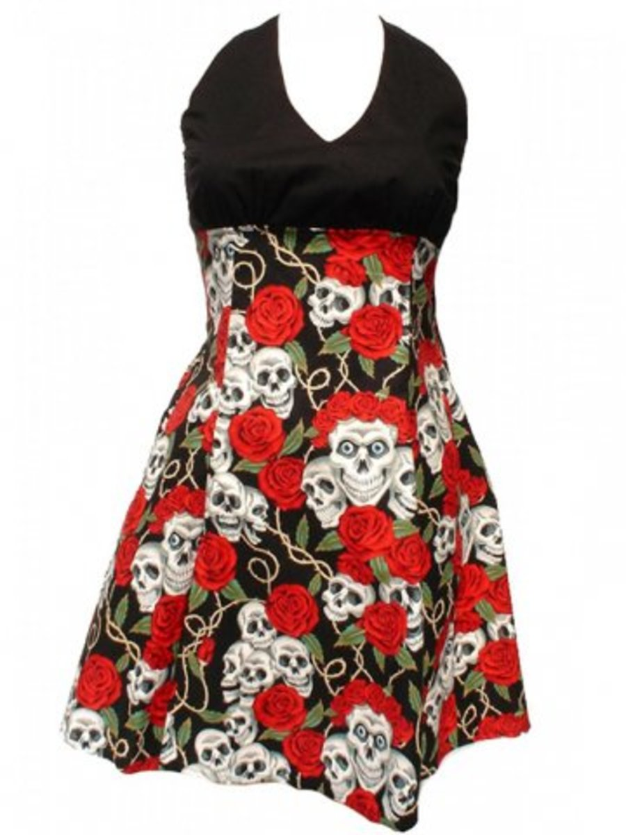 "Available at INKEDSHOP.COM: Women's ""Swing Me Down Skulls and Roses"" Dress by Hemet"