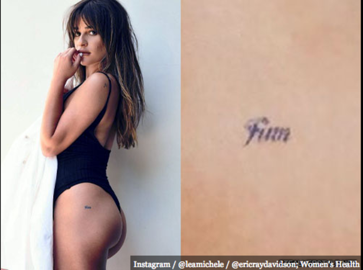 "Lea Michele -has ""Finn"" inked in small font on her left butt cheek."