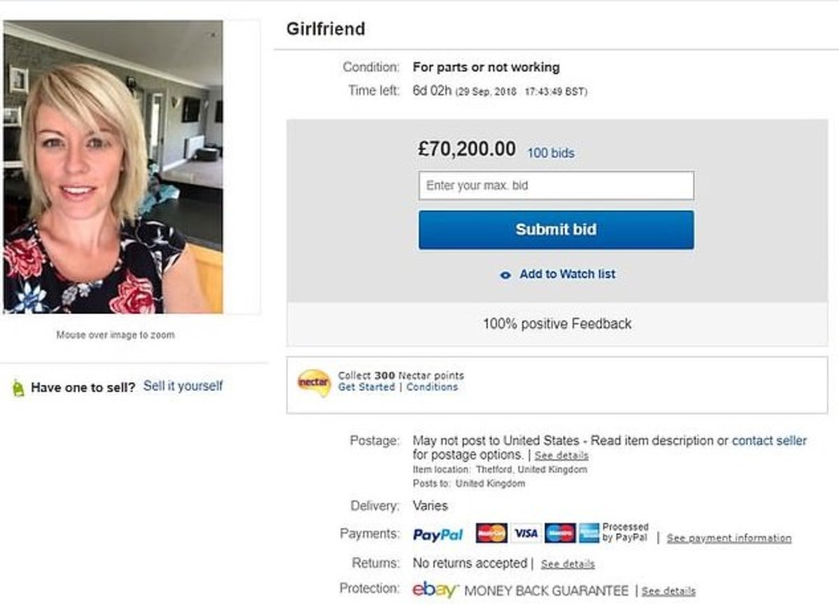 Man Auctions Girlfriend On Ebay Bids Shoot To 119 000 Tattoo Ideas Artists And Models