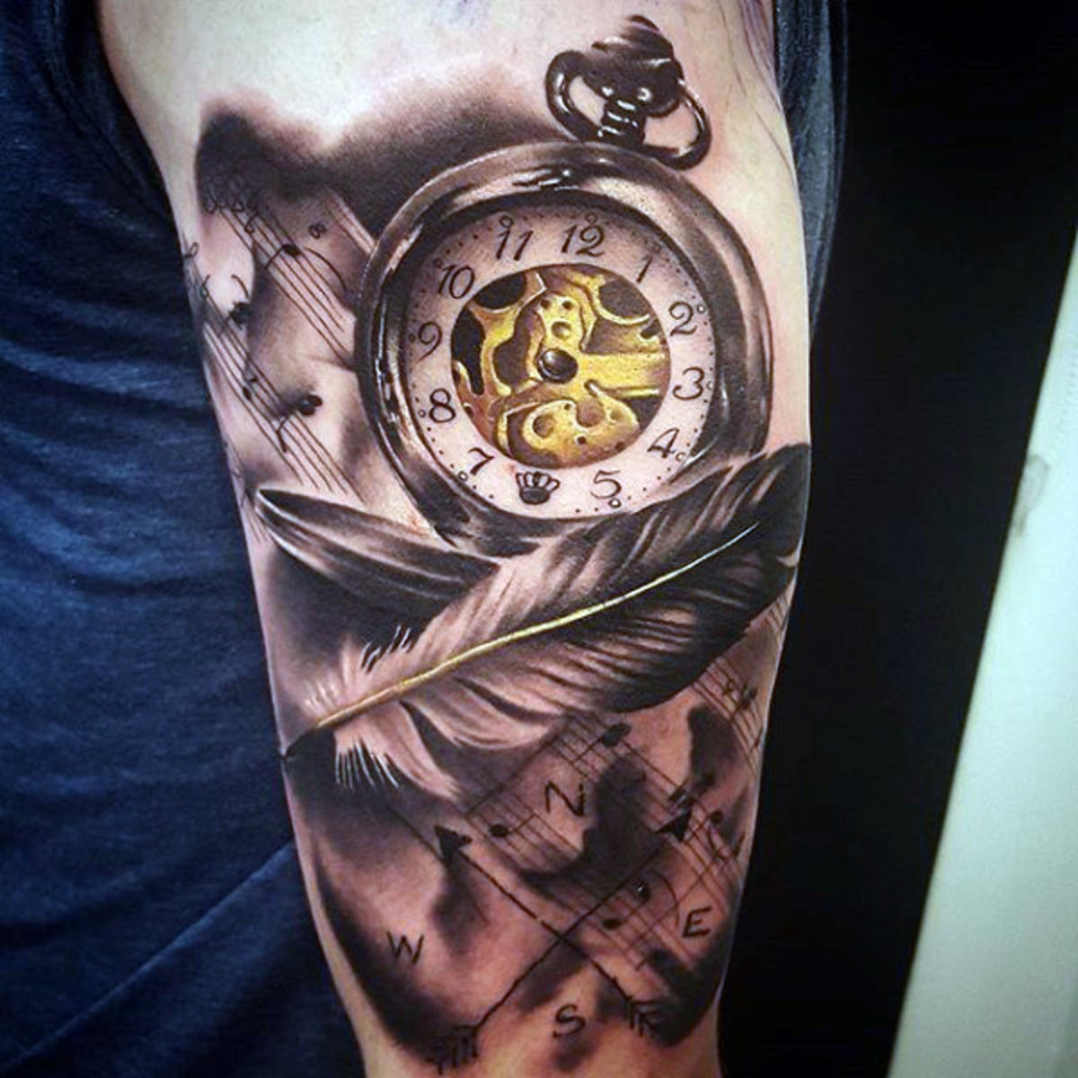 amazing-angel-feather-and-blazing-pocket-watch-tattoo-forearms-males
