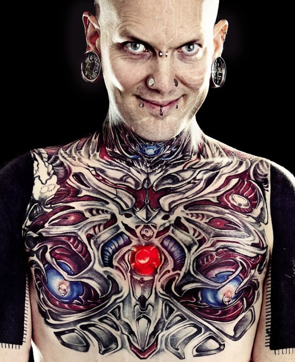 Russ foxx, human cyborg, extreme body modifications, surgical implants, inked magazine