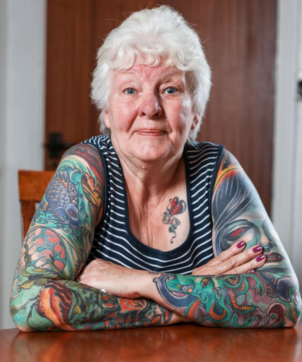 Glenys the Menace, Glenys Coope, 77 year old grandma, tattoo addict, old people with tattoos