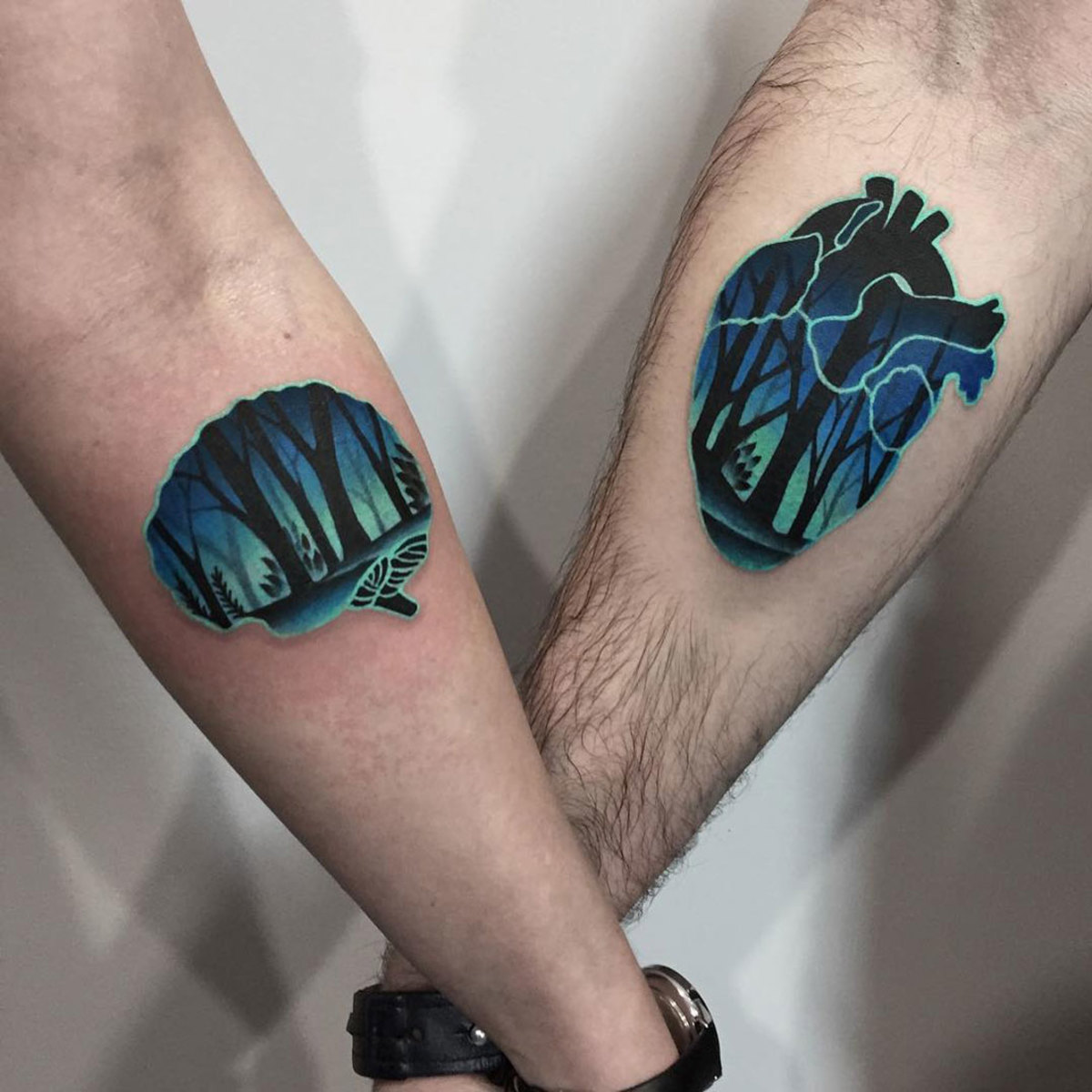Heart-and-brain-couples-tattoos